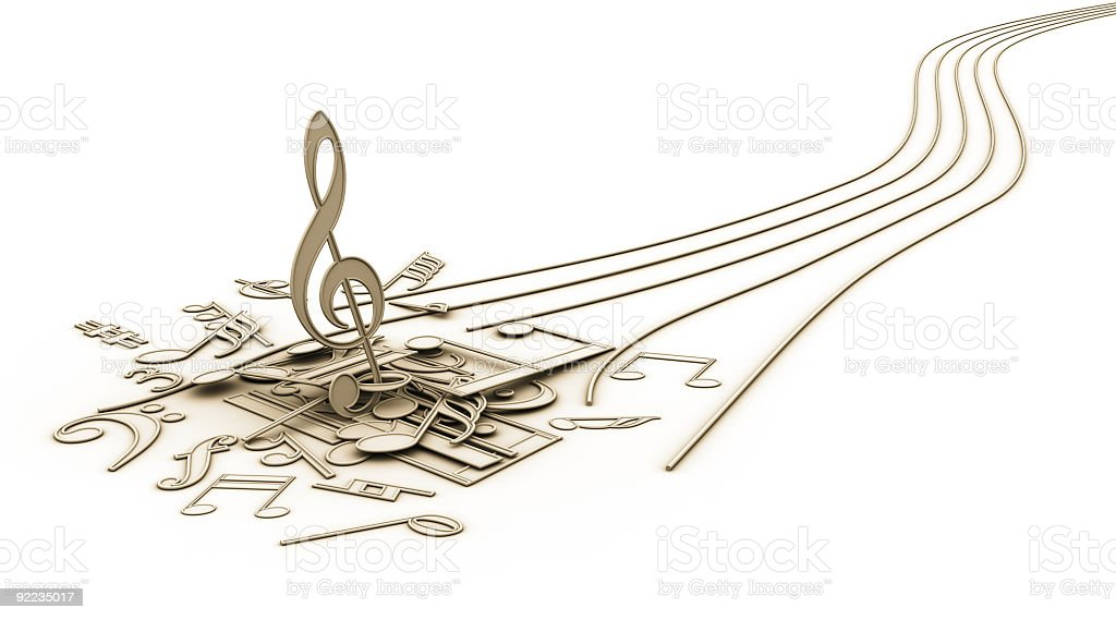 Musical notes running away from their lines royalty-free stock photo