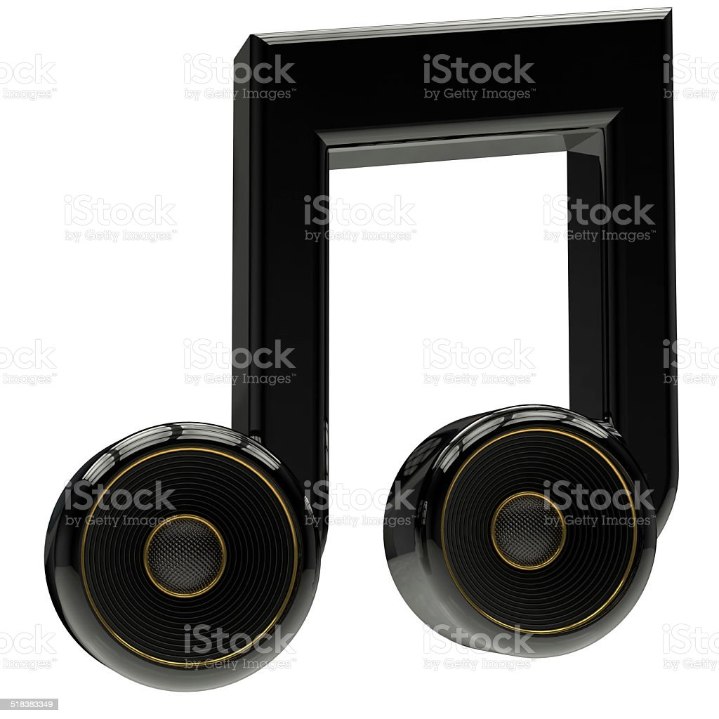 musical notes with speaker stock photo