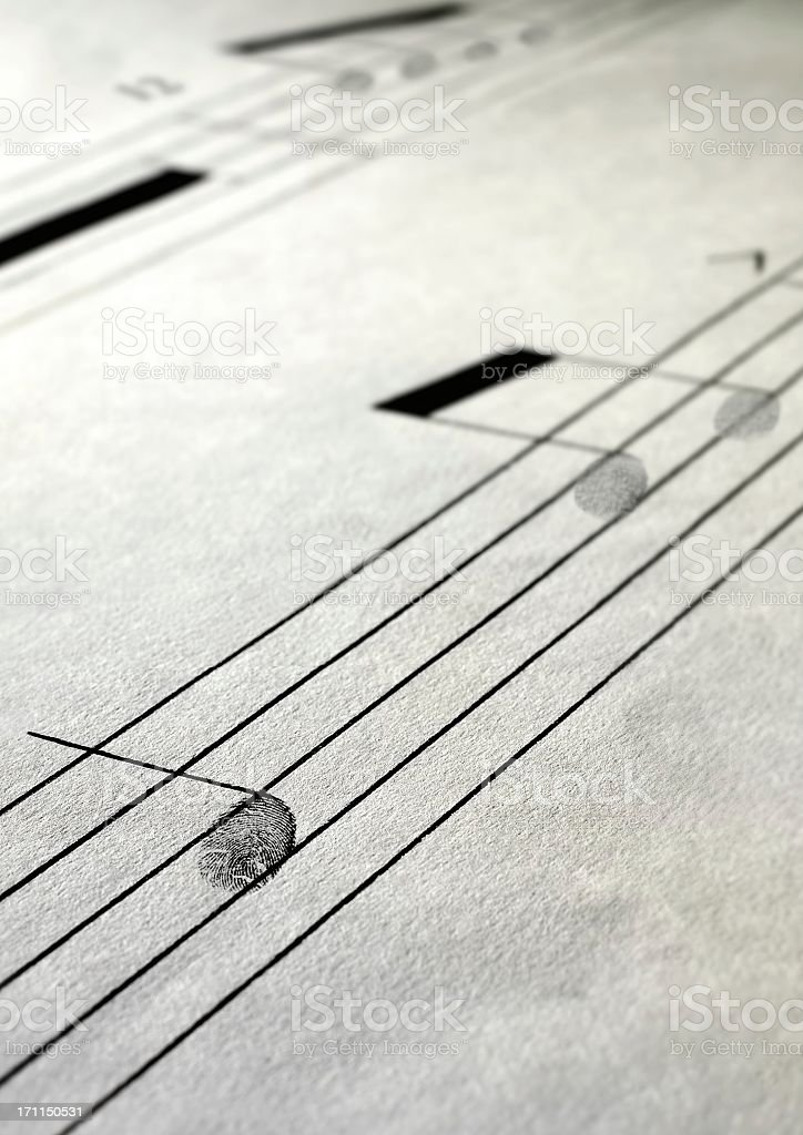 Musical paper notes treble stock photo