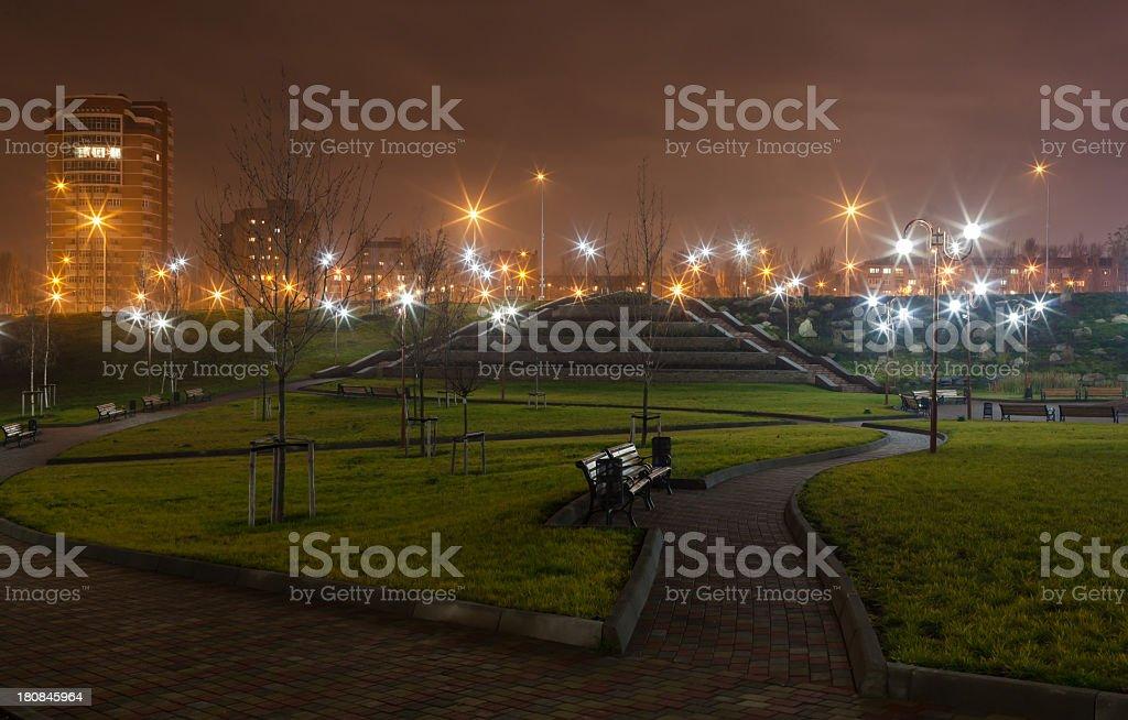 Musical park in Donetsk (Ukraine) at night stock photo