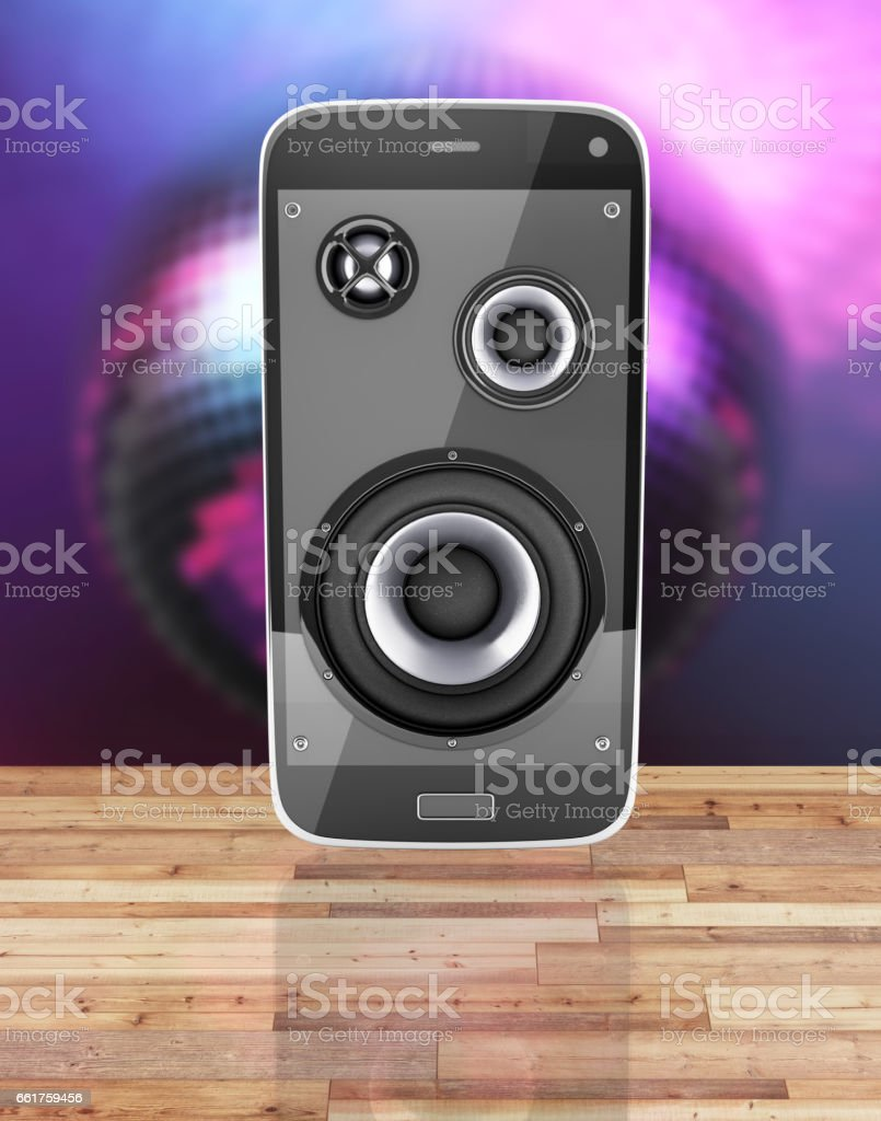 Musical smartphone Mobile phone music app Cellphone and loudspeakers with notes on wood floor and disco ball background with reflection 3d stock photo