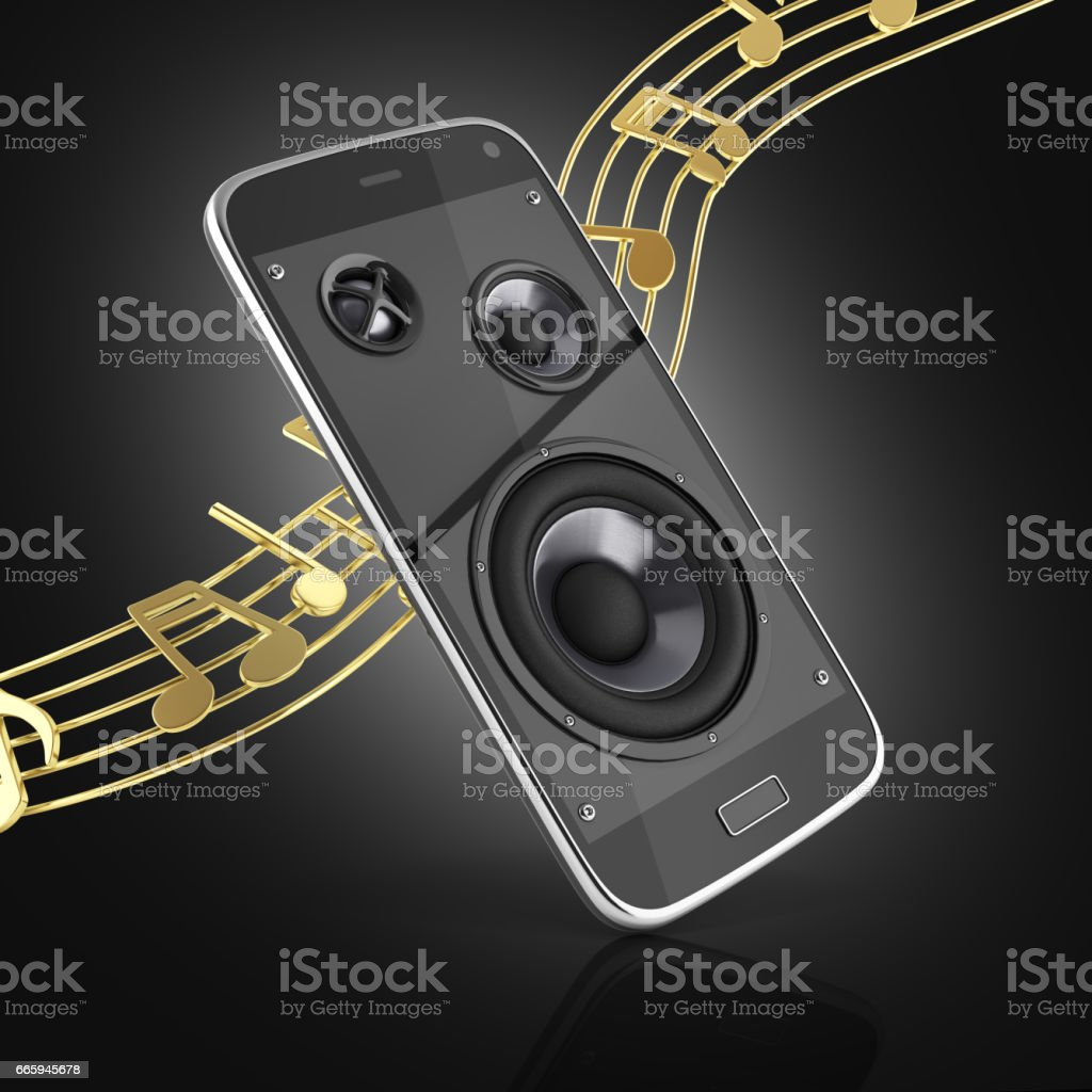 Musical smartphone Mobile phone music app Cellphone and loudspeakers with notes on black gradient background 3d stock photo