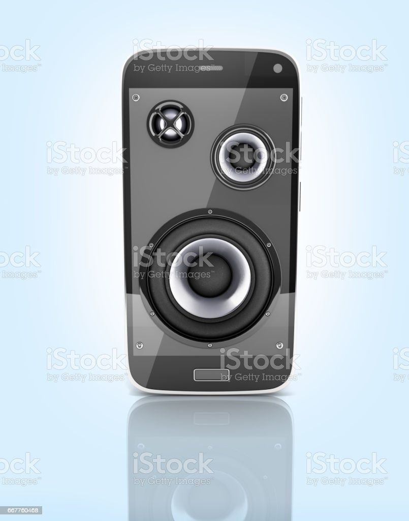 Musical smartphone Mobile phone music app Cellphone and loudspeakers with notes on blue gradient background with reflection 3d stock photo