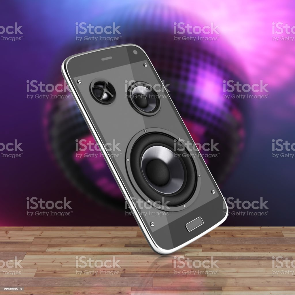 Musical smartphone Mobile phone music app Cellphone and loudspeakers on wood floor and disco ball background with reflection 3d stock photo
