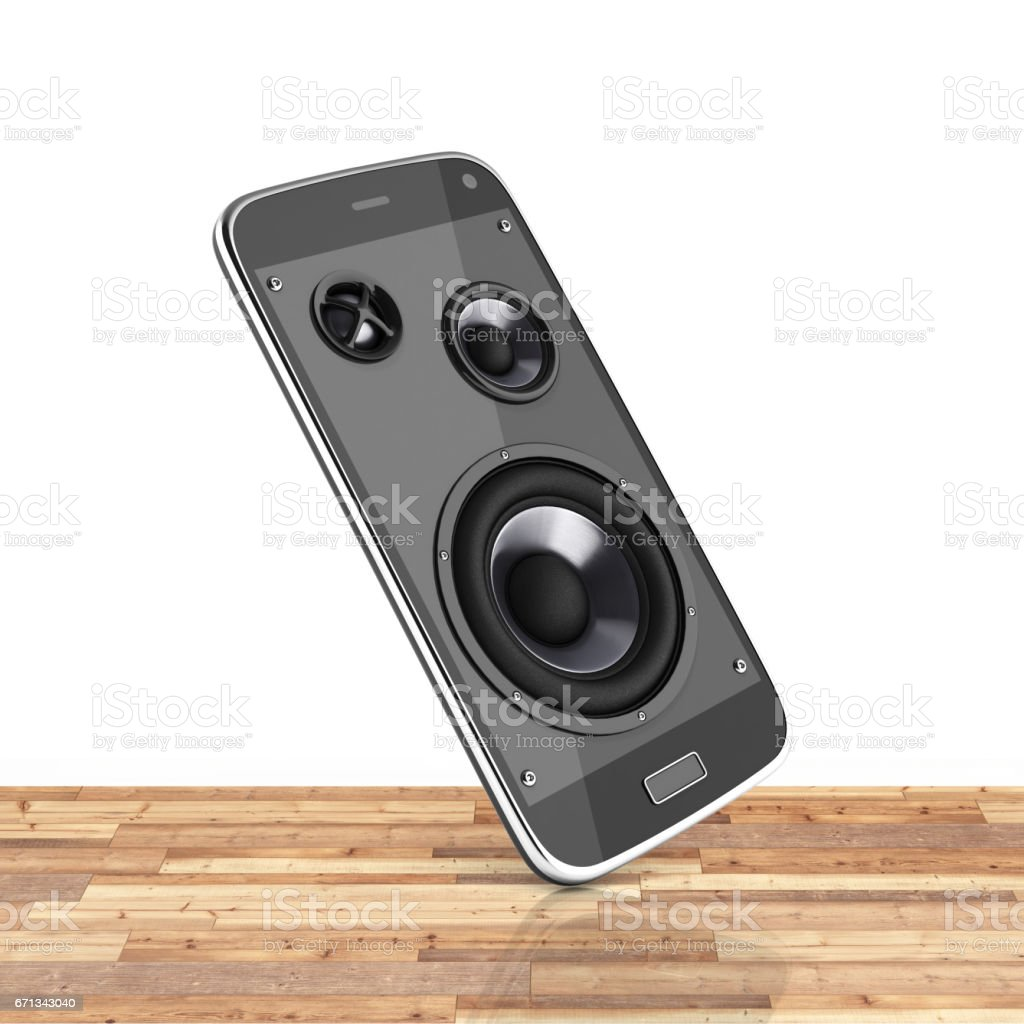 Musical smartphone Mobile phone music app Cellphone and loudspeakers on wood floor white background with reflection 3d stock photo