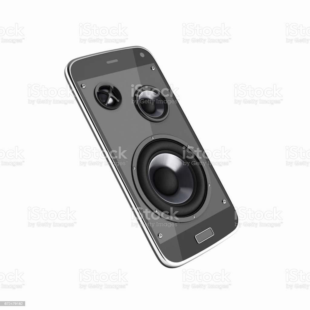 Musical smartphone Mobile phone music app Cellphone and loudspeakers without shadow on white background 3d stock photo