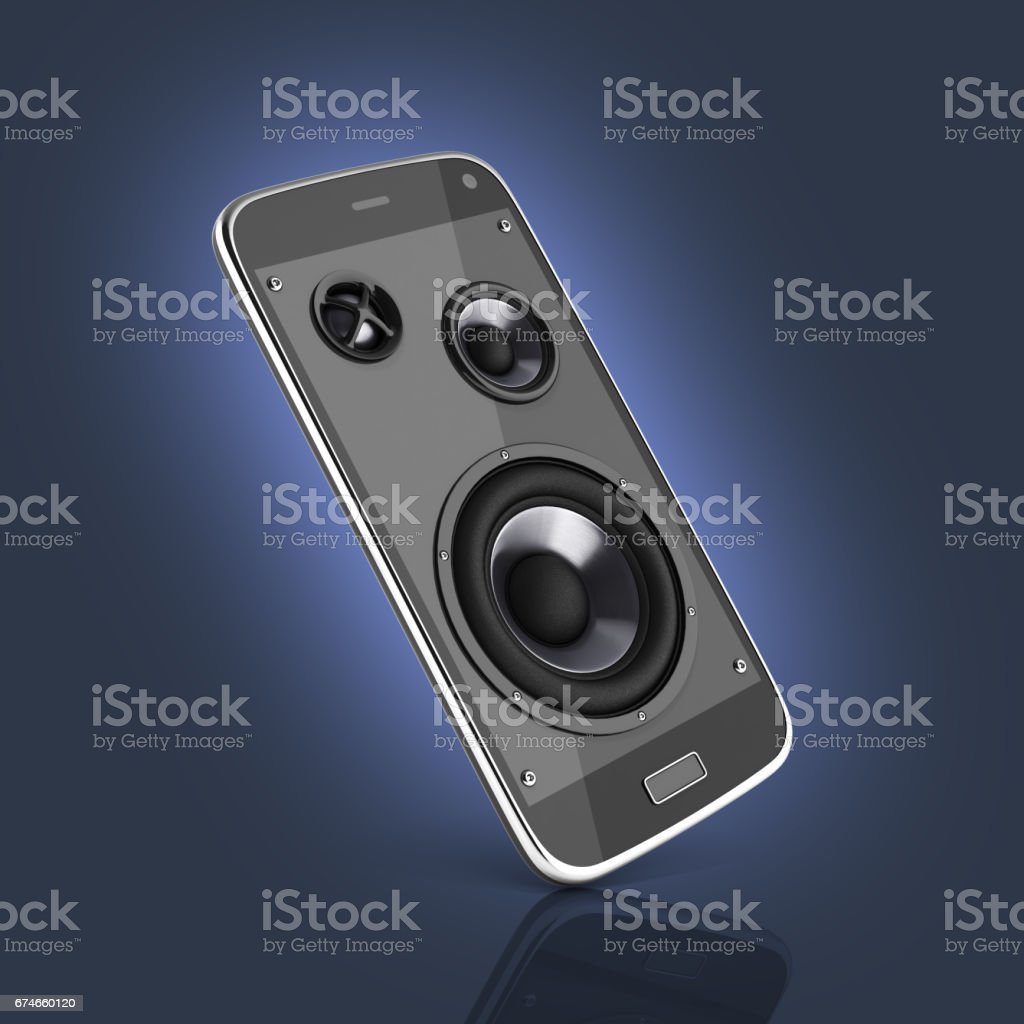 Musical smartphone Mobile phone music app Cellphone and loudspeakers on dark blue gradient background with reflection 3d stock photo