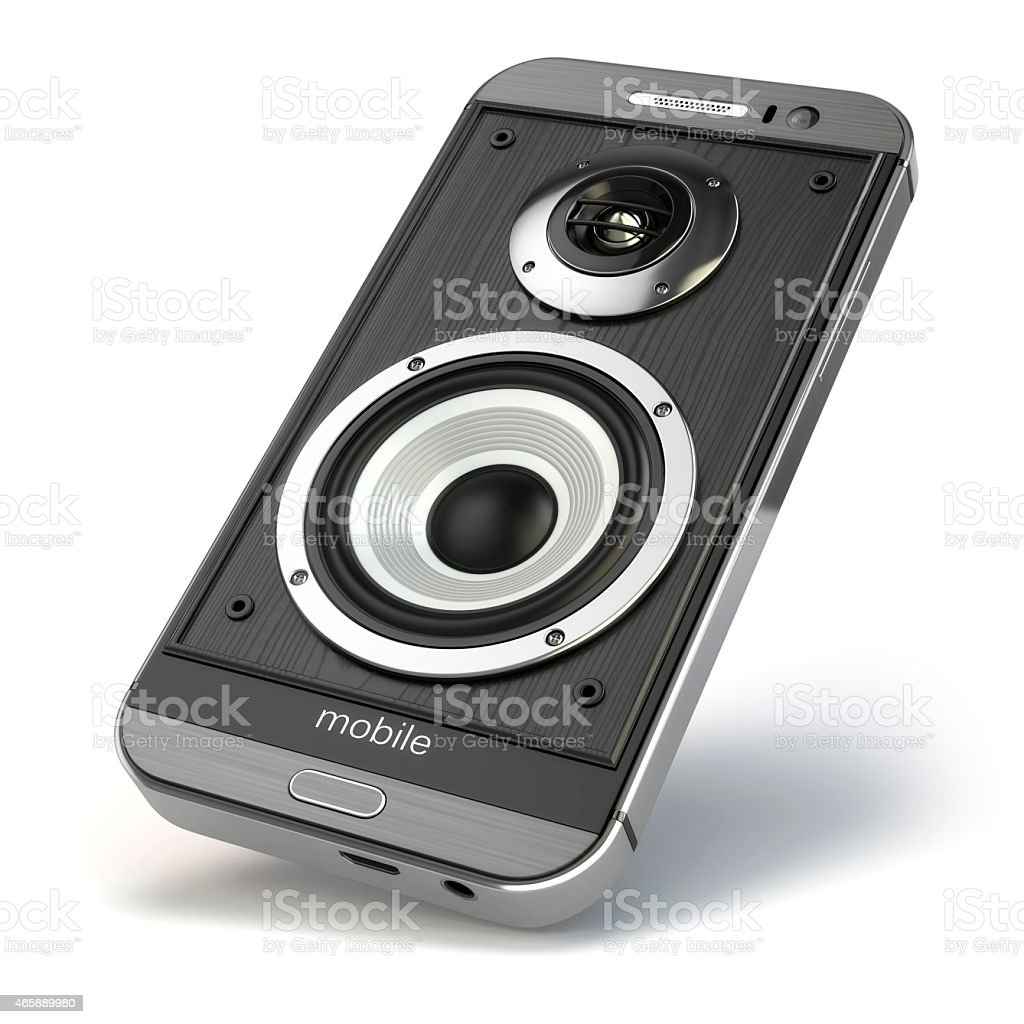 Musical smartphone.Mobile phone music app. Cellphone and loudspe stock photo