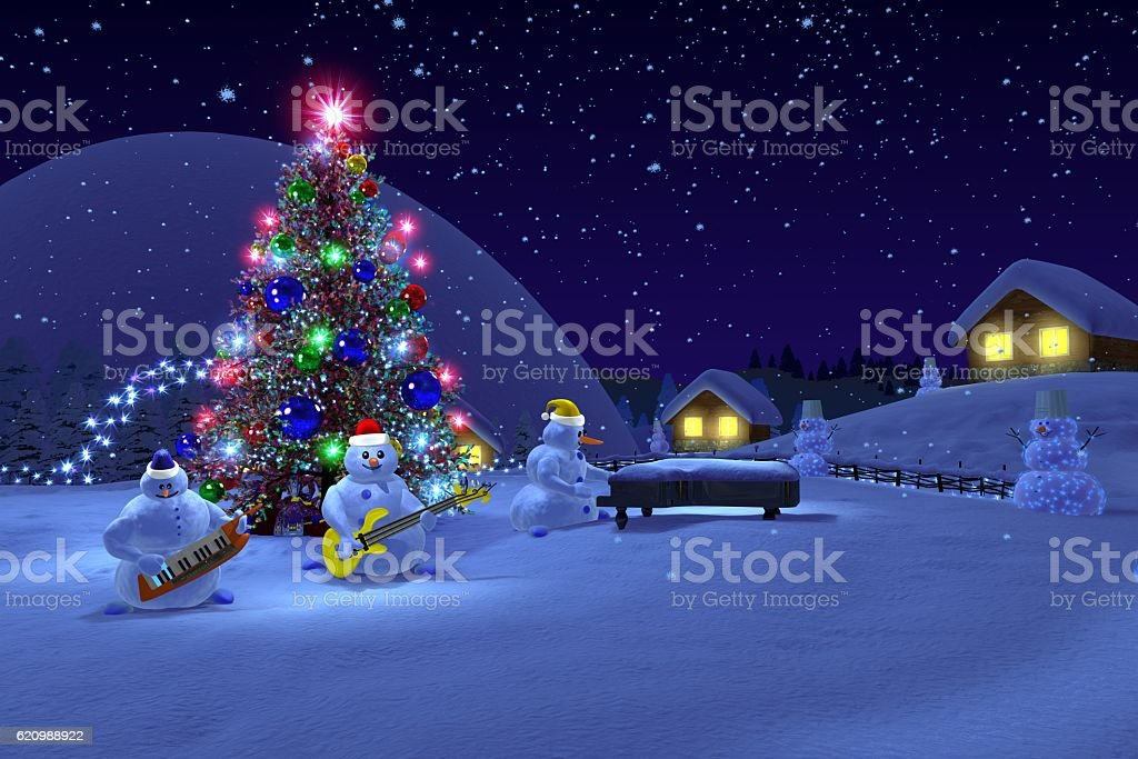 musical snowmen stock photo