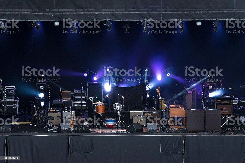 Musical stage with instruments stock photo
