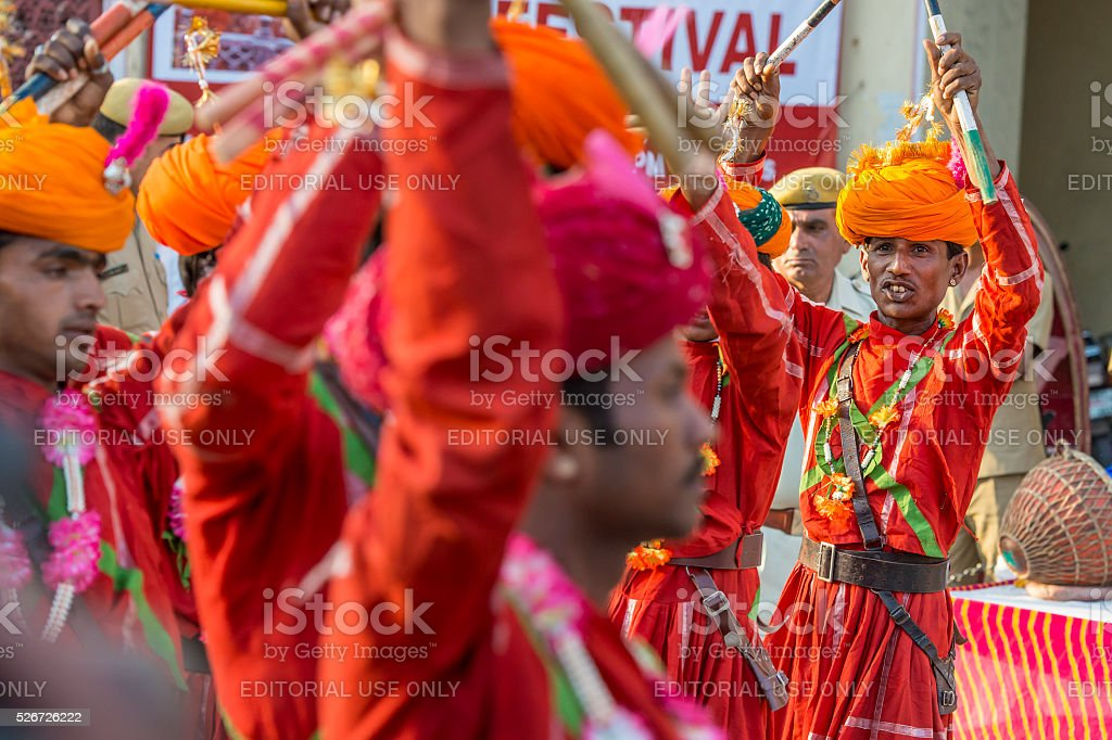 Musicans performing at the Gangaur Festival in Jaipur, Rajasthan, India stock photo