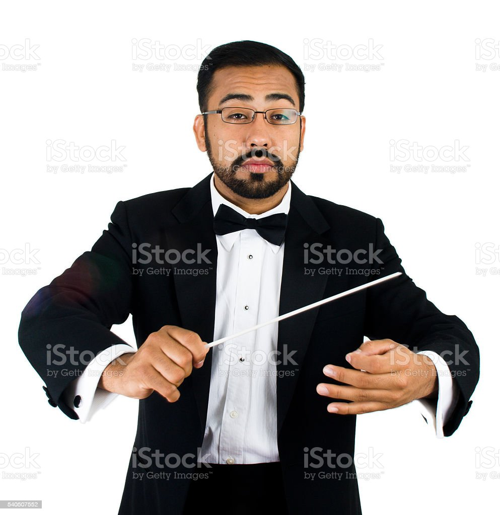 Musician Conductor Mexican Man with Baton in Tuxedo on White stock photo