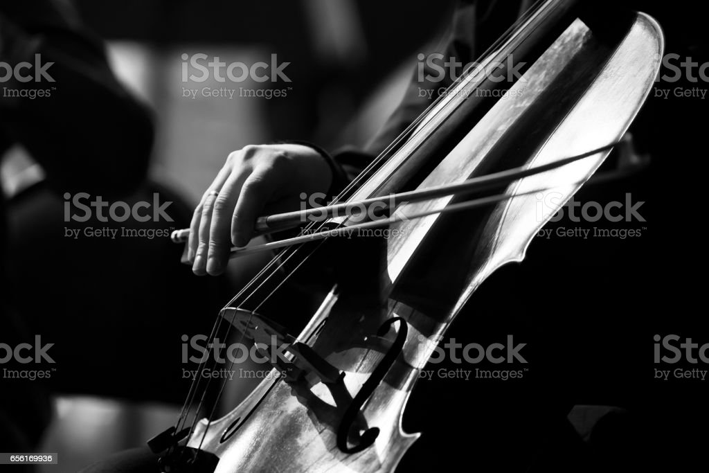 Musician hand playing the cello stock photo