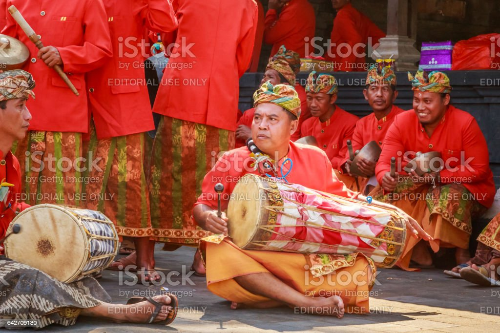 musician in a Balinese 'Day of Silence' stock photo