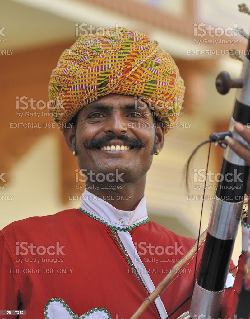 Musician in the City Palace. Jaipur. India. royalty-free stock photo