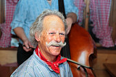 musician in traditional swiss yodelling trio
