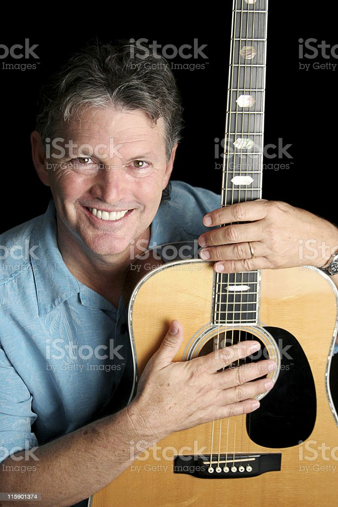 Musician Loves Guitar royalty-free stock photo