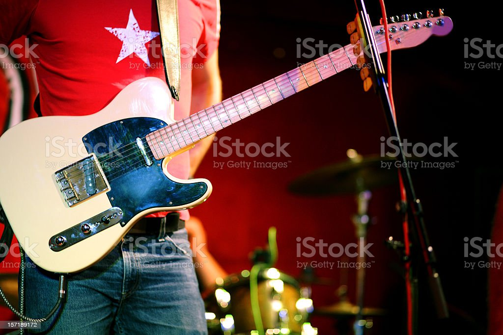 Musician on the stage, guitar, rock stock photo