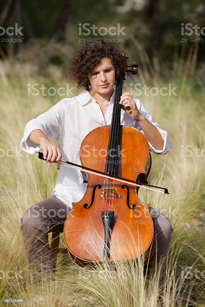 musician outdoors, portrait stock photo