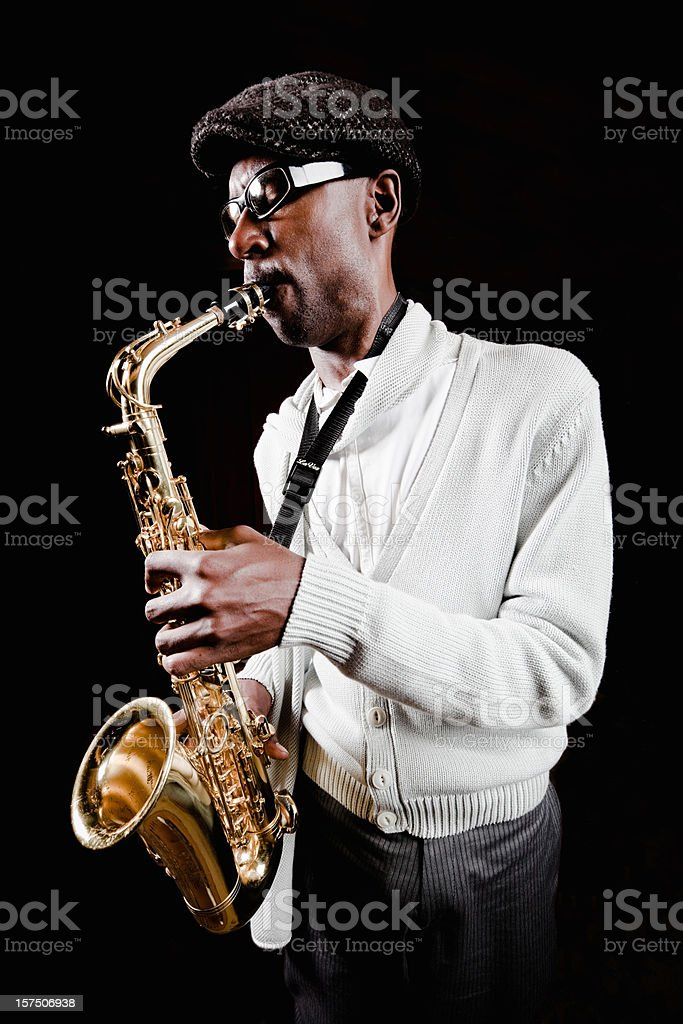 Musician Passionate Saxophone Player stock photo