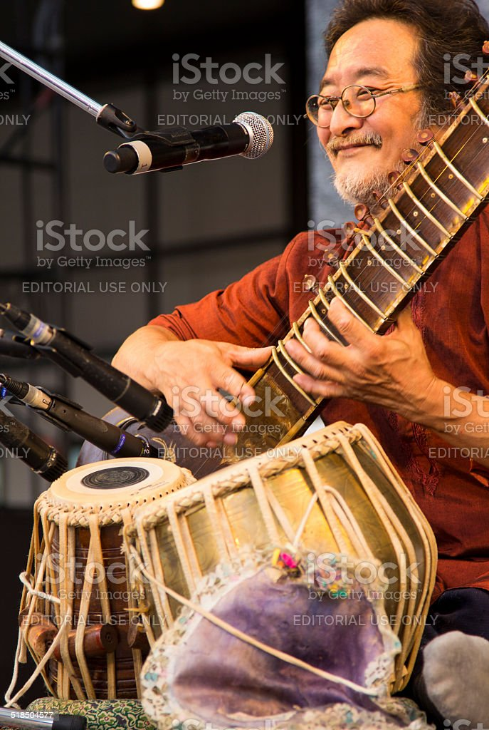 Musician Performing Indian Music stock photo