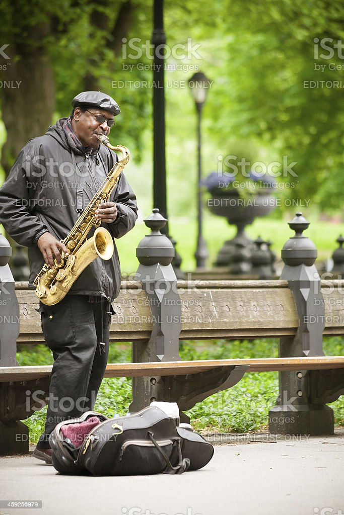 Musician play at Central Park royalty-free stock photo