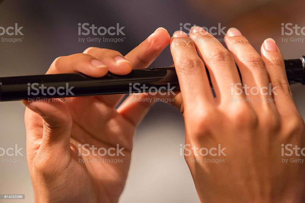 Musician playing a recorder / penny whistle two hands showing. stock photo