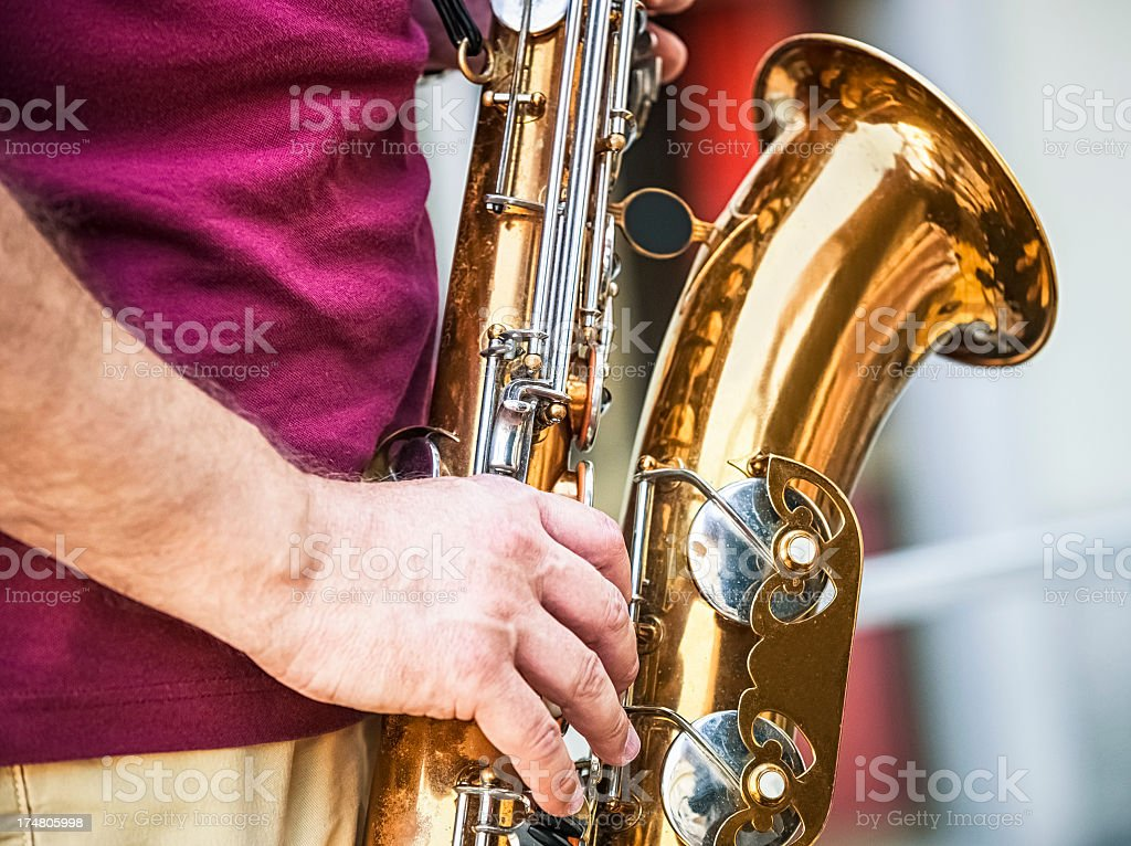 Musician playing sax royalty-free stock photo