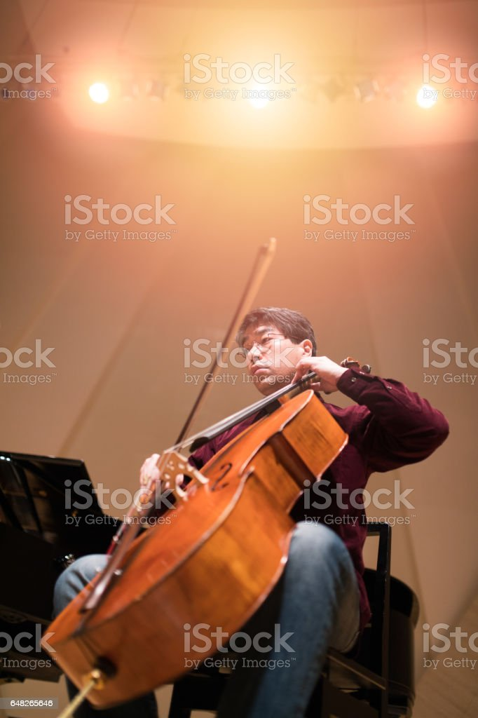 Musician playing violin cello on concert stage stock photo