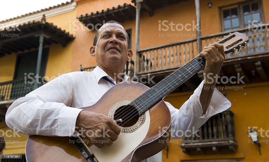 musician plays in Cartagena, Colombia royalty-free stock photo