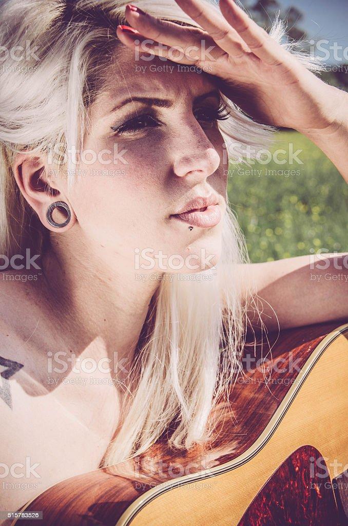 Musician portrait - looking away stock photo