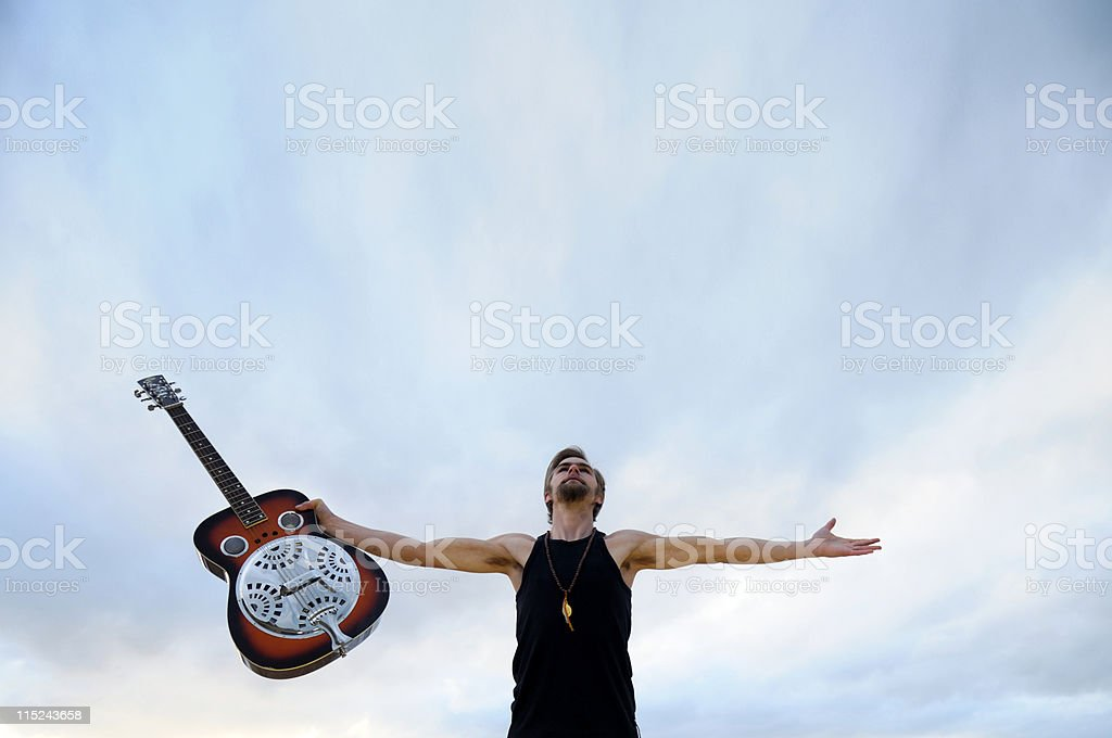 Musician rejoicing royalty-free stock photo