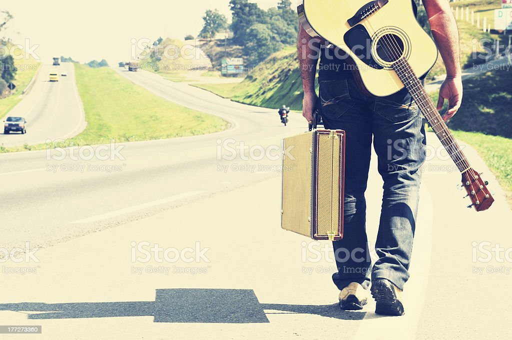musician traveler stock photo