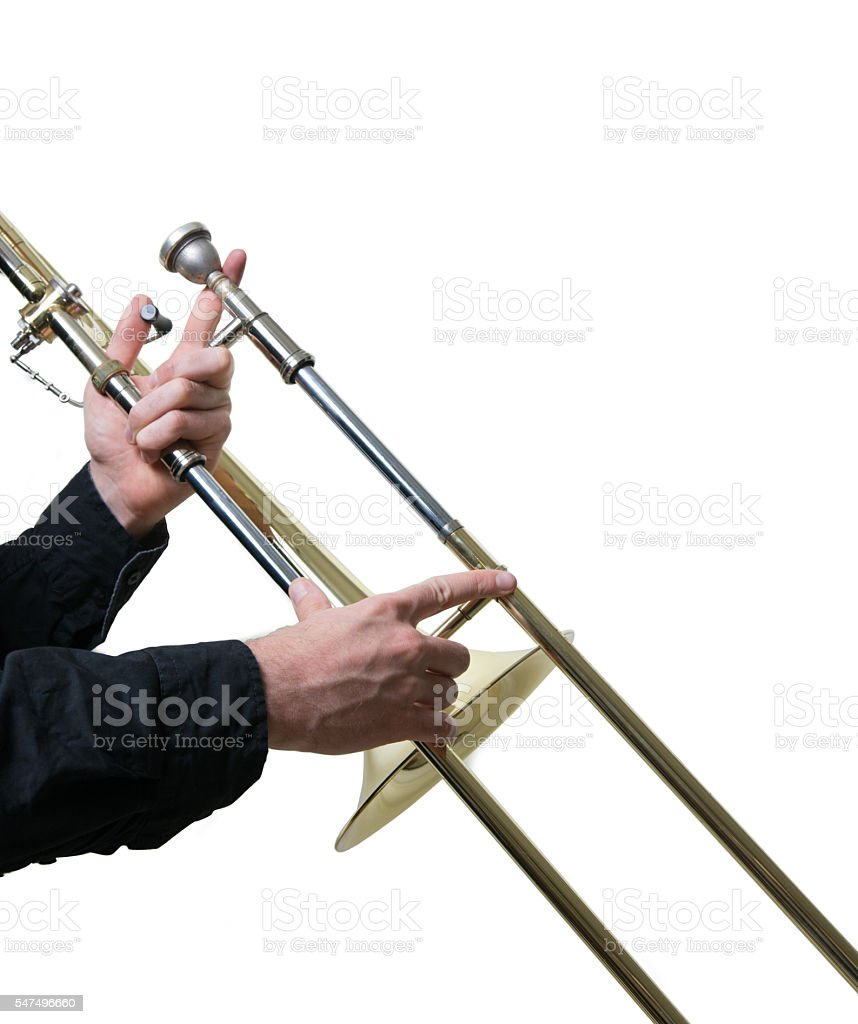 Musician with a trombone stock photo