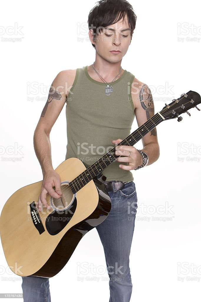 Musician with Acoustic Guitar royalty-free stock photo