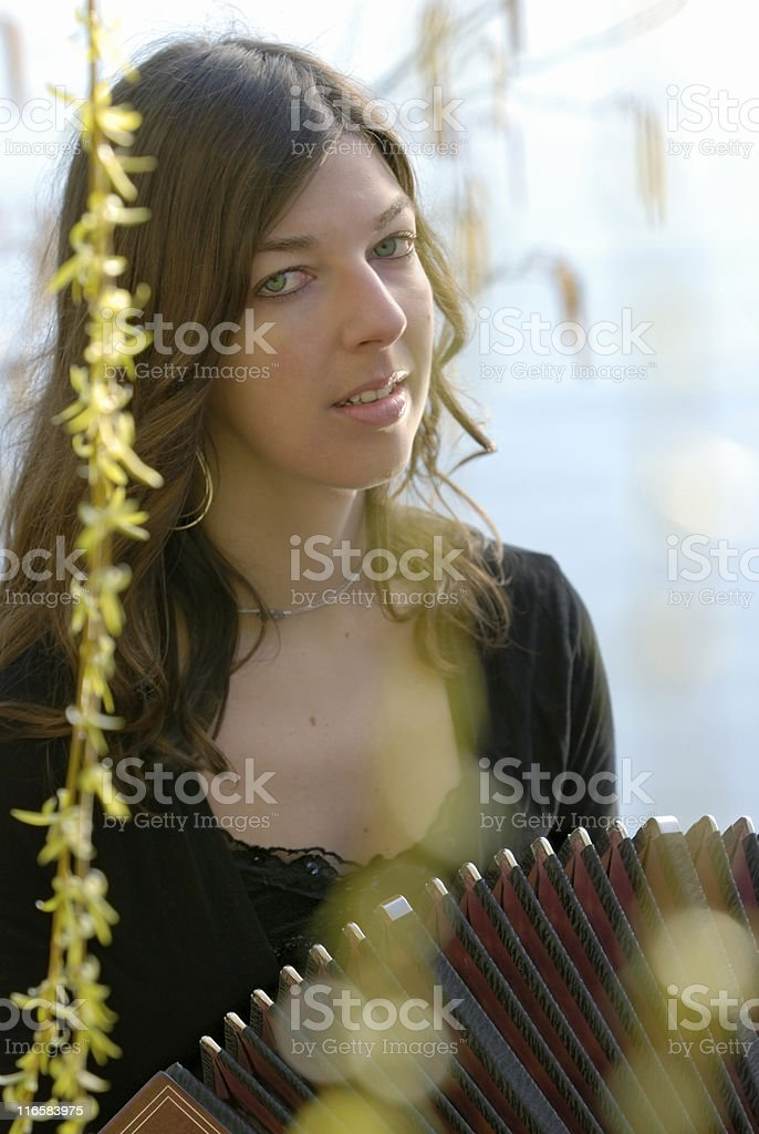 musician with bandoneon stock photo