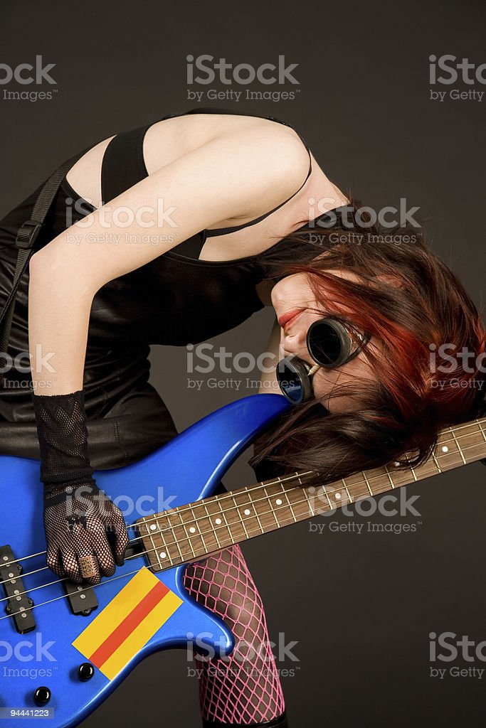 Musician with bass guitar royalty-free stock photo