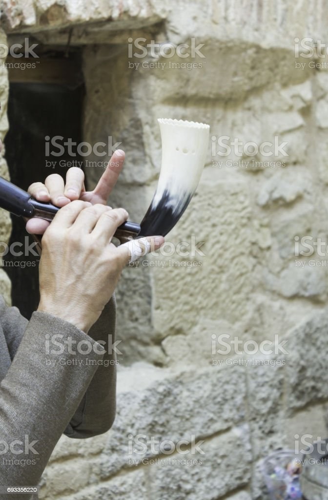 Musician with horn stock photo