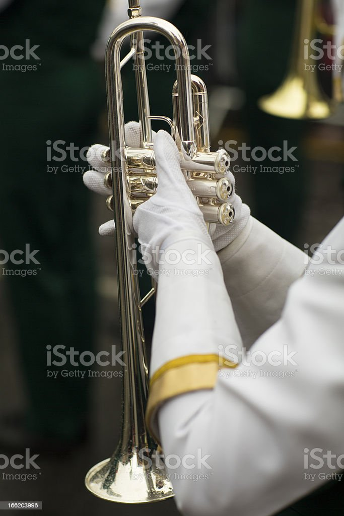 Musician with the trumpet shallow depth of field royalty-free stock photo