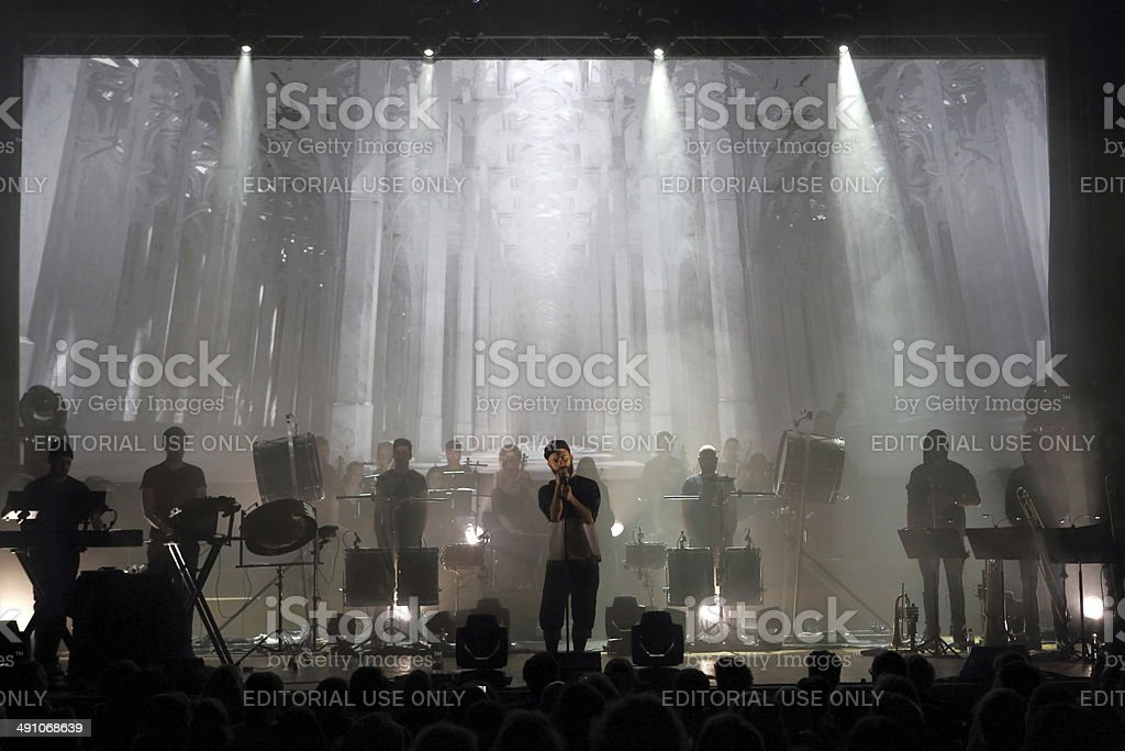 Musician Woodkid on stage in Dusseldorf stock photo