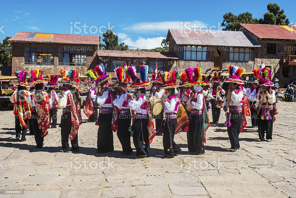 musicians and dancers peruvian Andes Puno Peru royalty-free stock photo