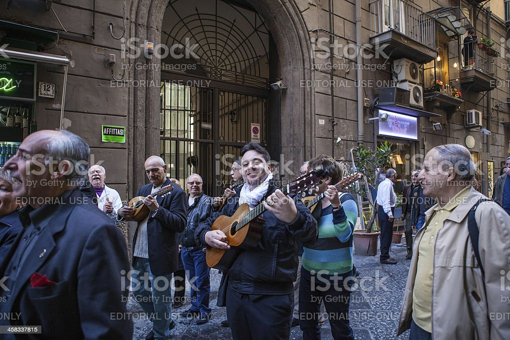 Musicians and Singer in Naples Street, Italy royalty-free stock photo