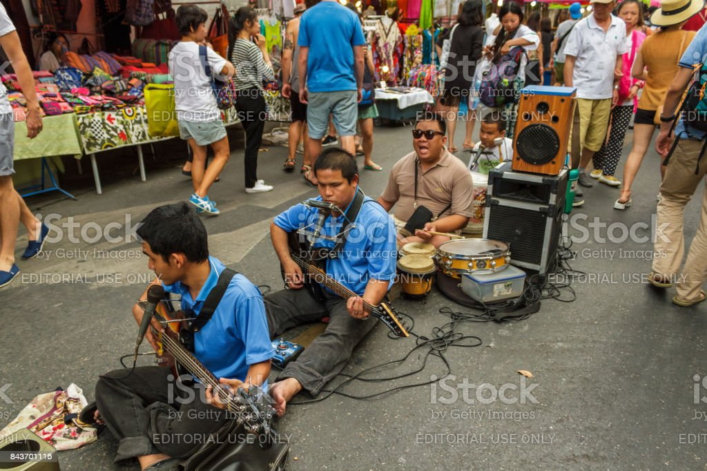 Musicians at the walking street market in Chiang Mai, Thailand stock photo