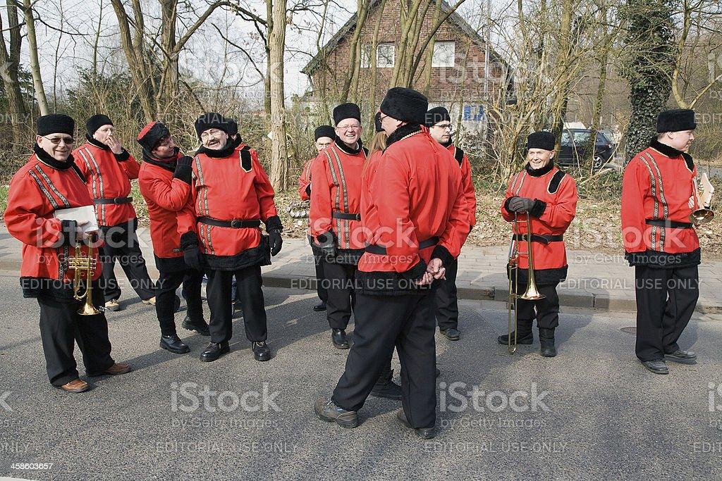 Musicians in cossack costumes stock photo