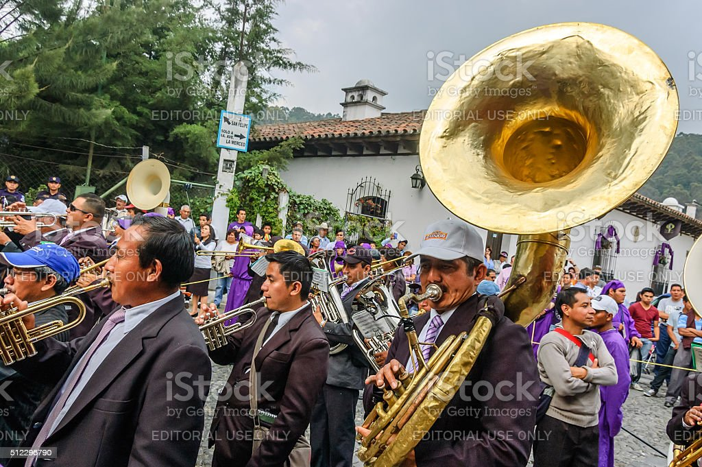 Musicians in Holy Thursday procession, Antigua, Guatemala stock photo