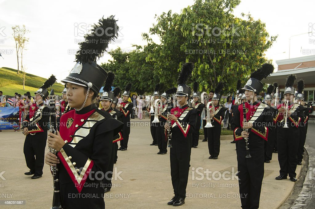 Musicians in Monarchist Rally, Thailand royalty-free stock photo