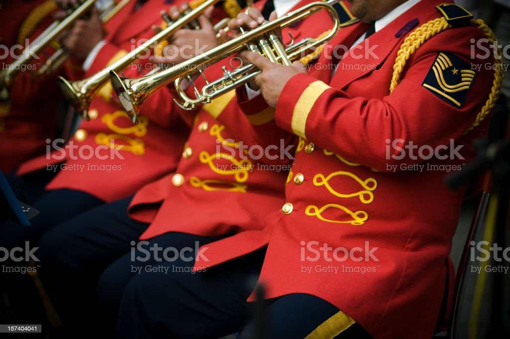 Musicians in red royalty-free stock photo