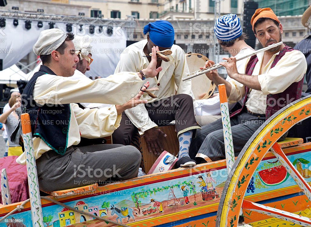 Musicians on a carriage at a parade stock photo