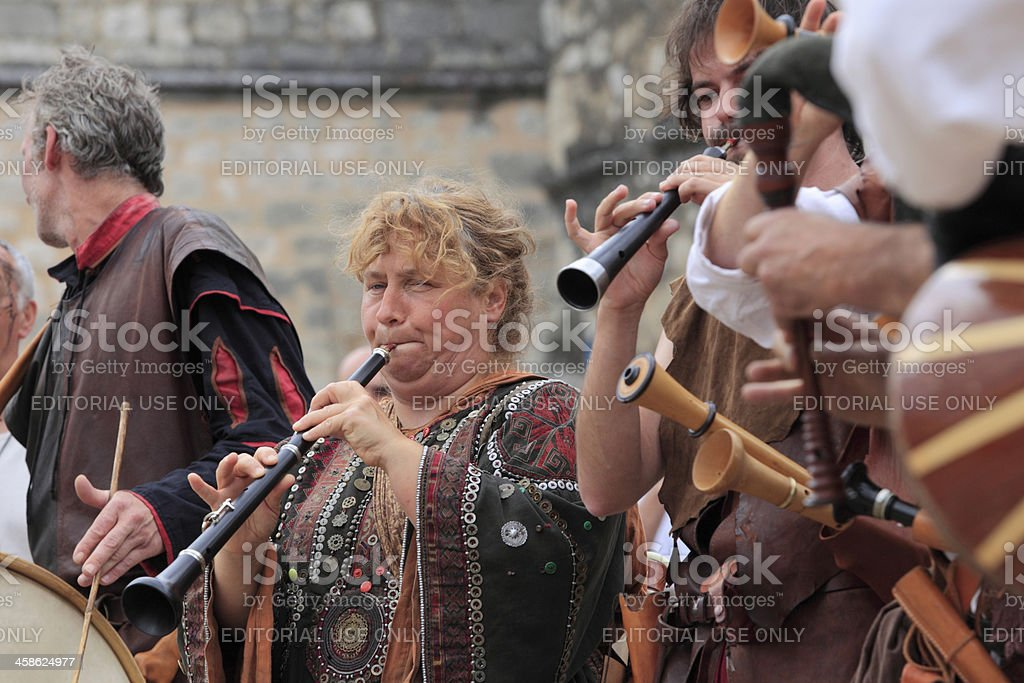 musicians on a medieval festival in Monpazier stock photo