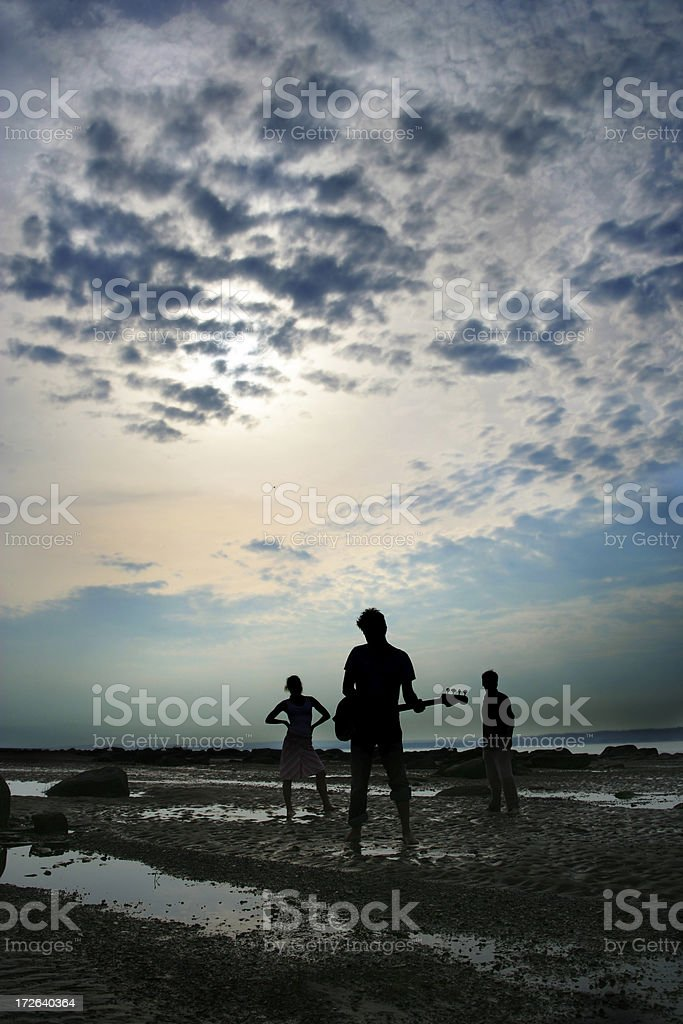 Musicians on the beach royalty-free stock photo